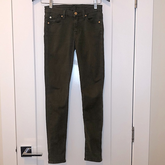 7 for all mankind olive green skinny jean pants 23
